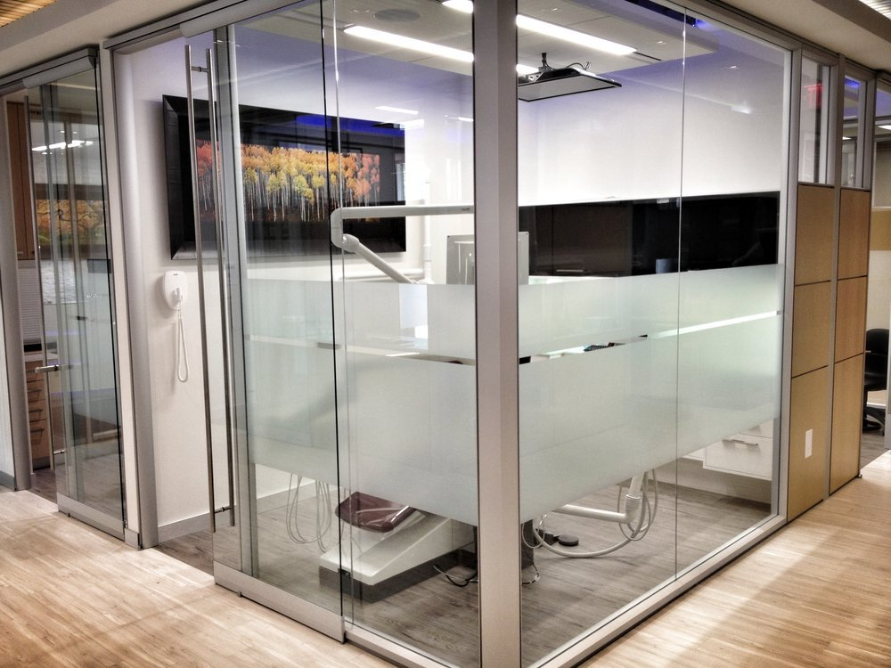 To ensure privacy, but to also maintain the open concept of the office, tint has been added to all rooms